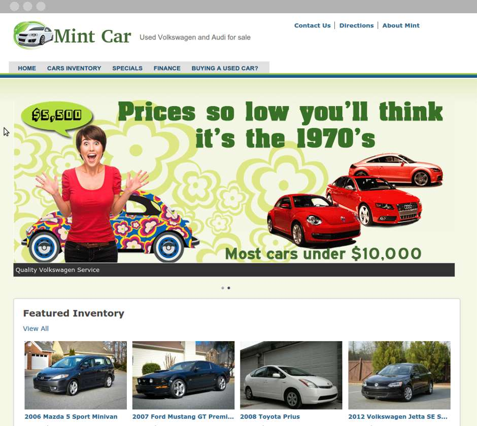 Mint Car Website - Desktop View